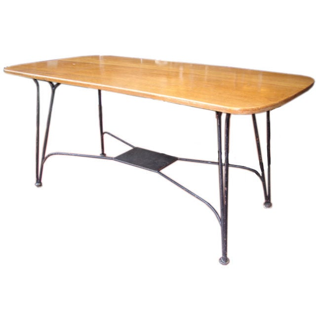 Tubular metal desk with wood top at 1stdibs for Metal desk with wood top