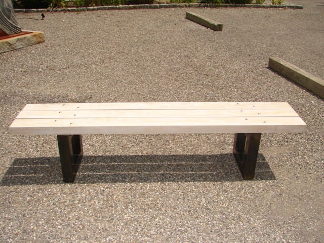 White Oak Slatted Bench With Metal Supports For Sale At