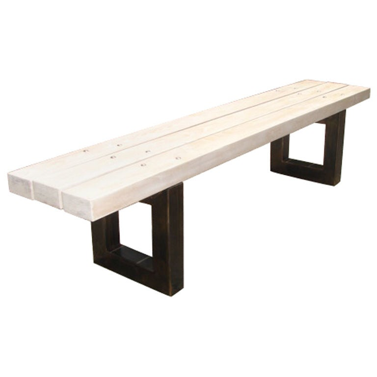 White Oak Slatted Bench With Metal Supports For Sale At 1stdibs
