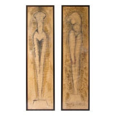Pair of large scale nude torso mixed media drawings