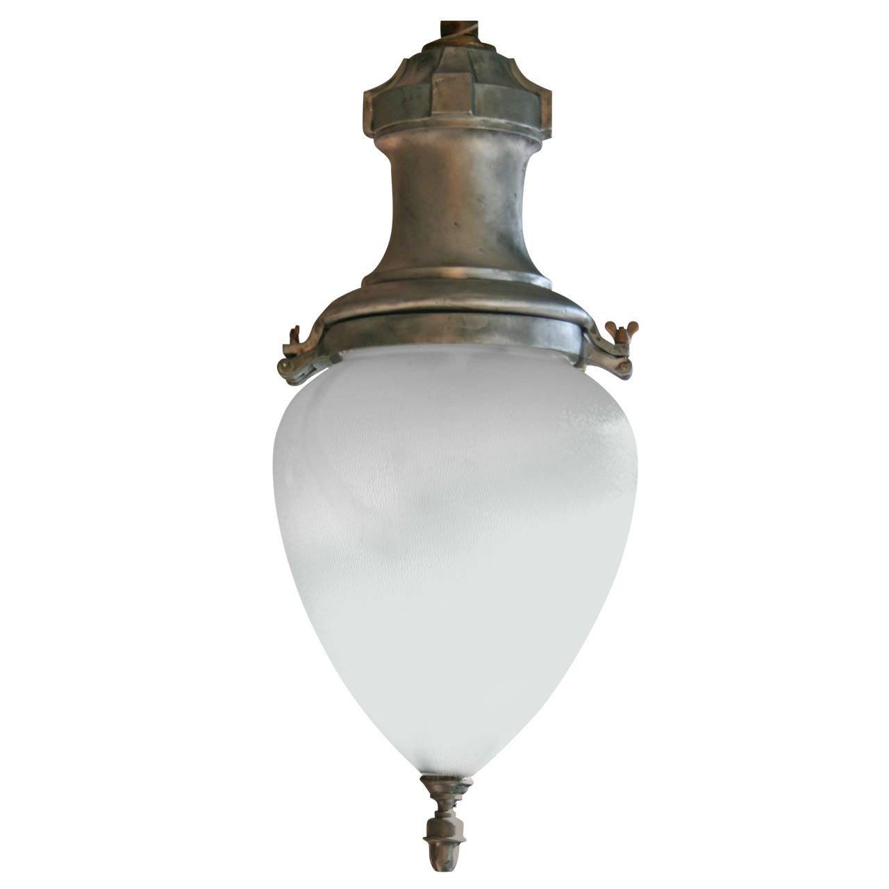 Large Metal and Glass Hanging Pendant Light