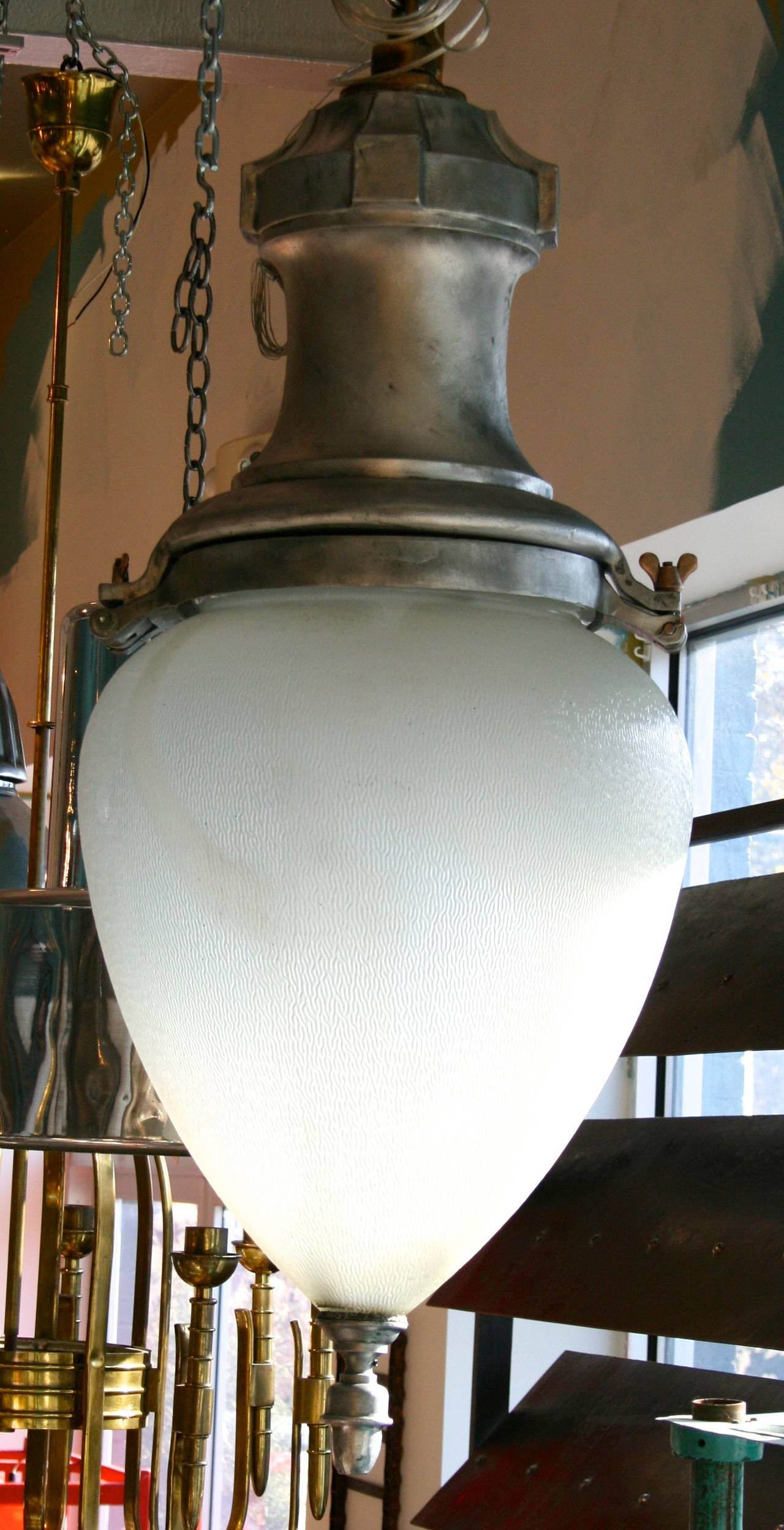 Large Metal and Glass Hanging Pendant Light 3