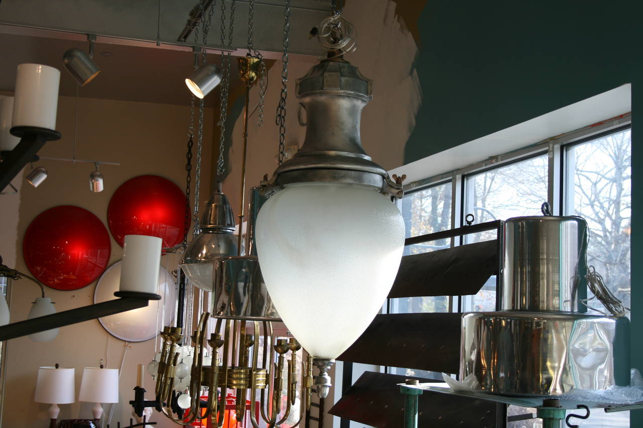 Large Metal and Glass Hanging Pendant Light 4