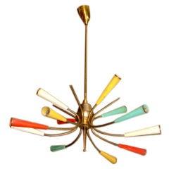 Colorful 12 light Italian chandelier