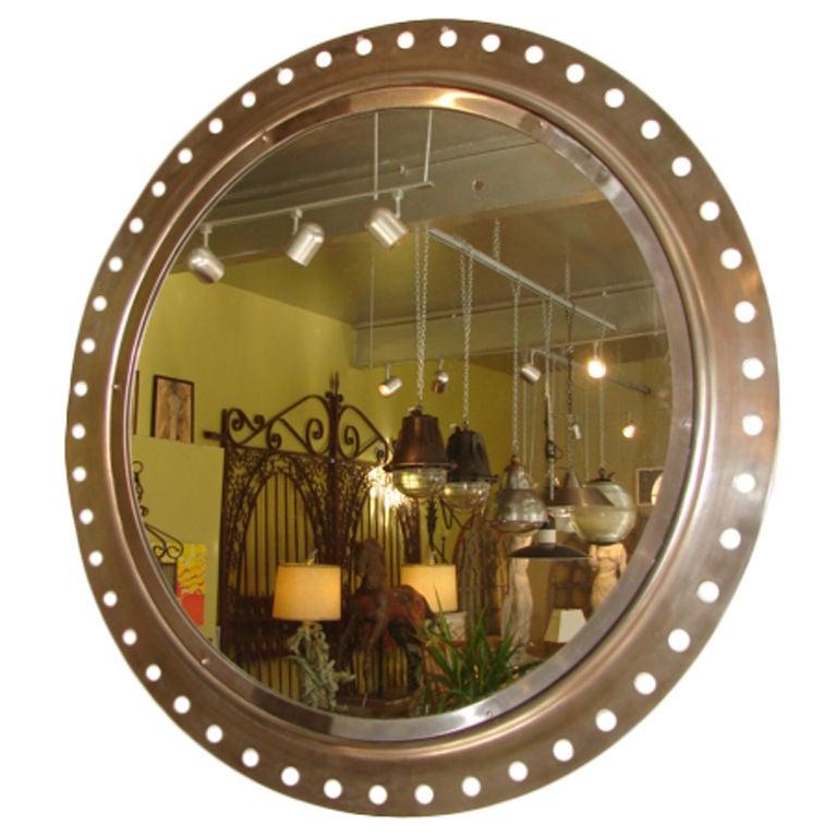 Large aluminium round mirror at 1stdibs for Big circle mirror
