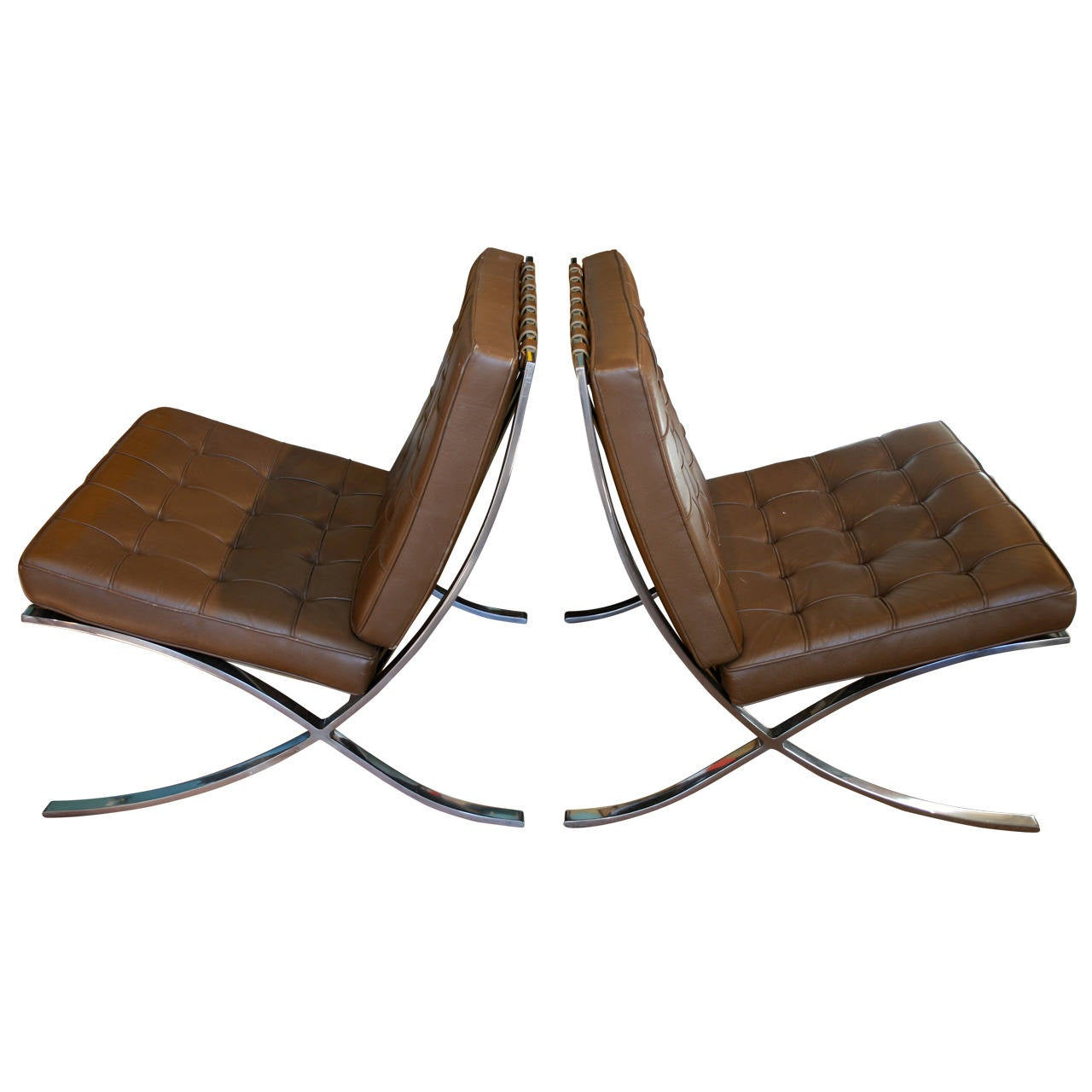 pair of jay spectre original knoll barcelona chairs at 1stdibs. Black Bedroom Furniture Sets. Home Design Ideas