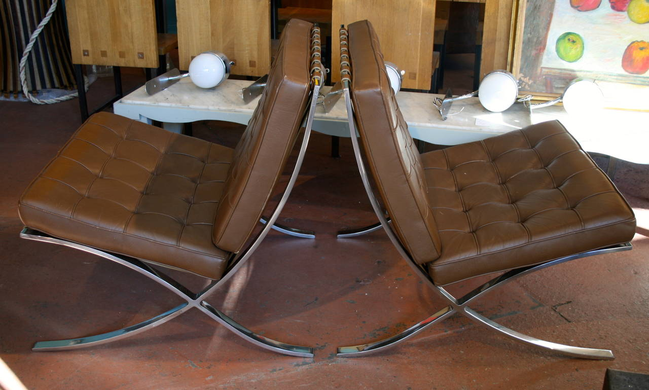 pair of jay spectre original knoll barcelona chairs at 1stdibs