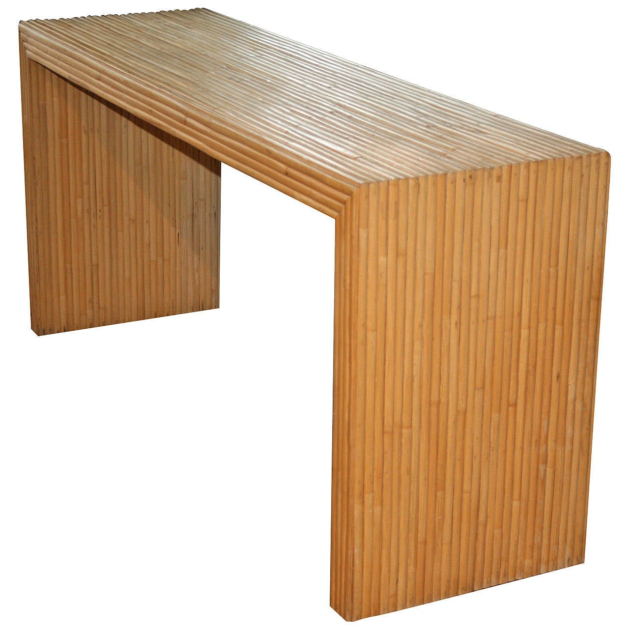 parsons style bamboo rattan console table at 1stdibs