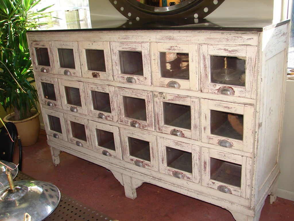 Large Emporium Cabinet With 18 Glass Front Drawers At 1stdibs