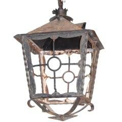 Large French Iron Hanging Lantern