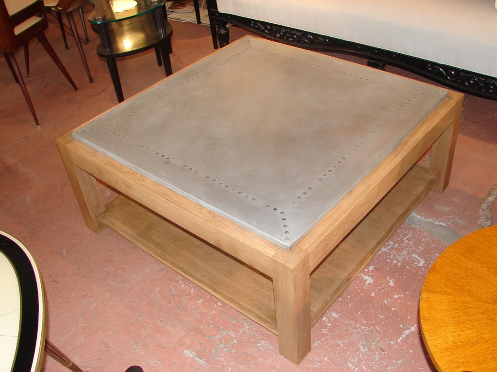 Zinc Top Oak Square Coffee Table At 1stdibs