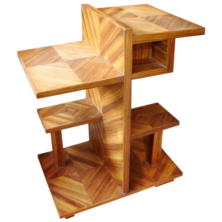 Zebra Wood Veneer Multi Tiered Side Table At 1stdibs