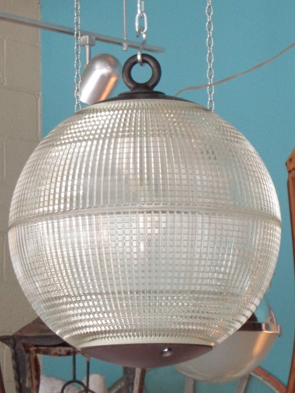 Large Holophane Glass Sphere Globe Light For Sale At 1stdibs