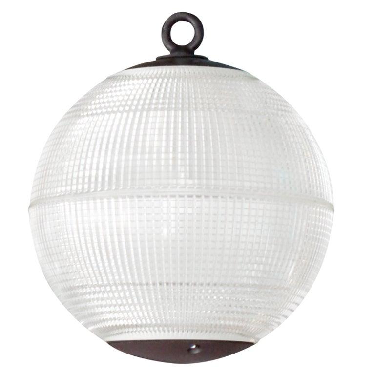 large holophane glass sphere globe light at 1stdibs