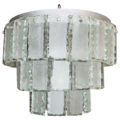 Diminutive Chandelier With Hand Chiseled Glass, Italy 1960s