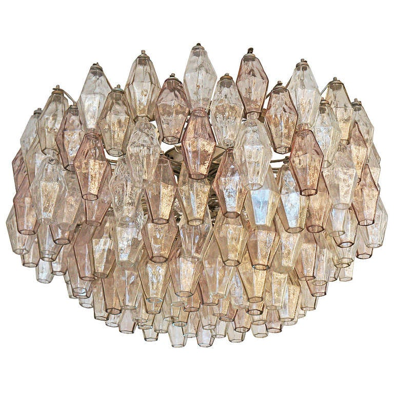 Large And Shallow Glass Polyhedral Chandelier By Venini At
