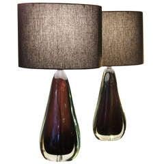 Pair Of Flavio Poli For Seguso Aubergine Table Lamps