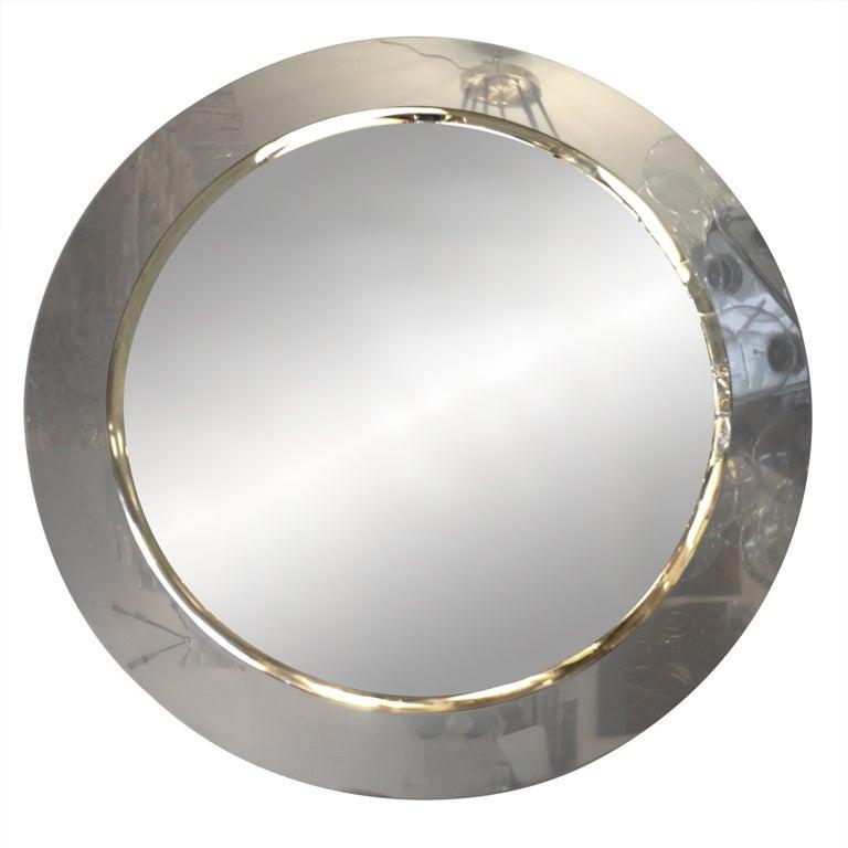 Large Minimalist Italian Chromed Steel Mirror At 1stdibs