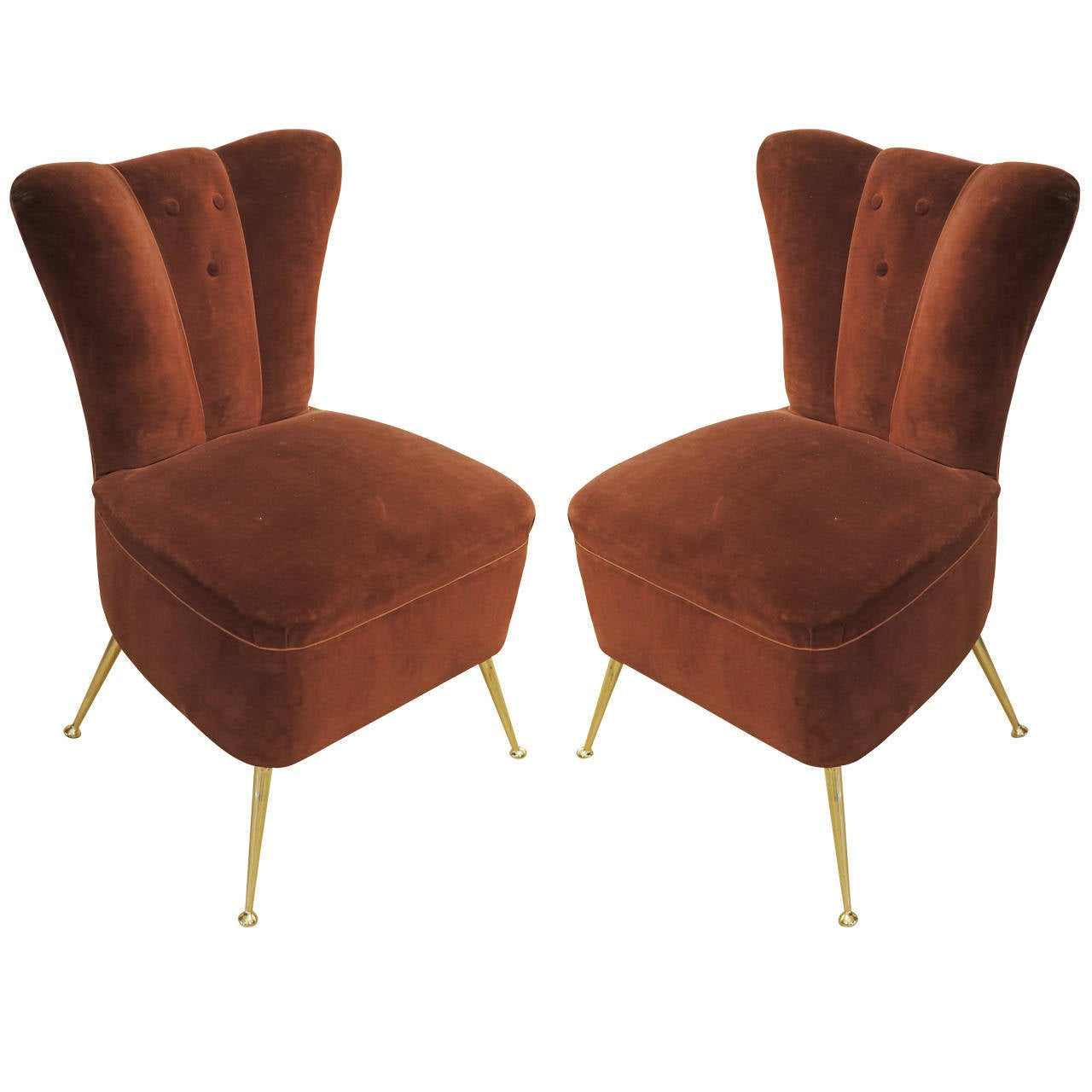 Pair of Slipper Chairs, Italy 1950s