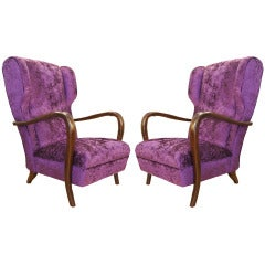 Pair Of Purple Lounge Chairs, Italy 1940s