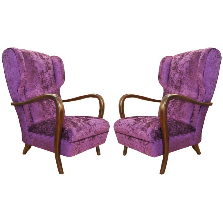 Pair Of Purple Lounge Chairs, Italy 1940s For Sale