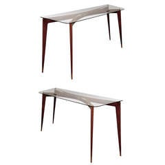 Pair of 1950s Italian Consoles in the Manner of Gio Ponti