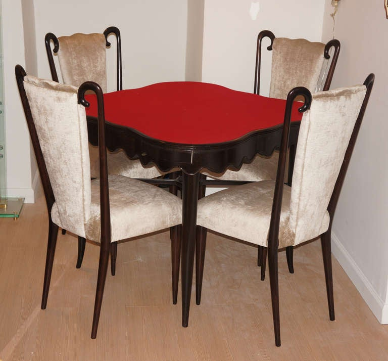 Gaming card Table And Chairs Attributed To Paolo Buffa