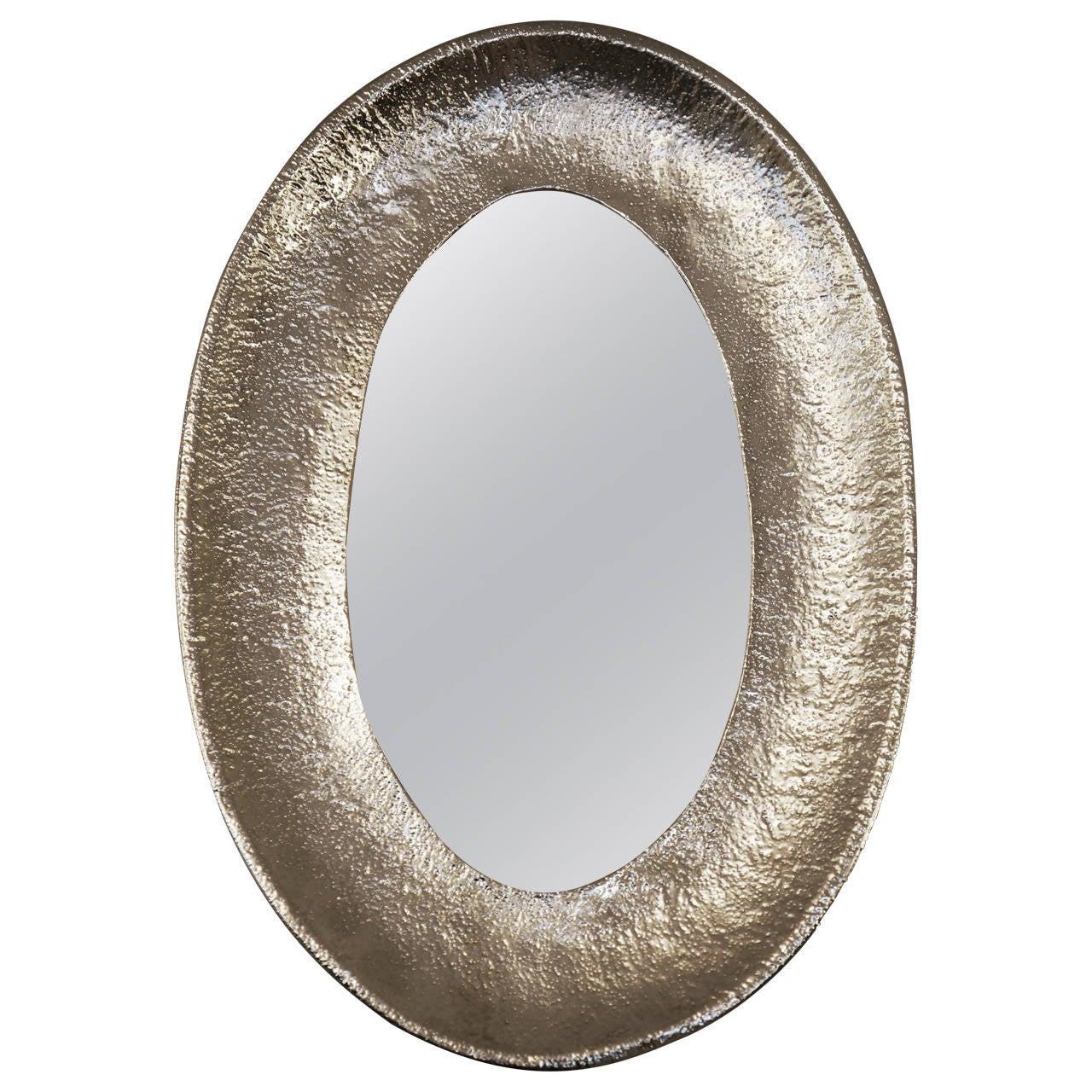 Nickel-Plated Hand-Hammered Bragalini Mirror, Italy, 1960s