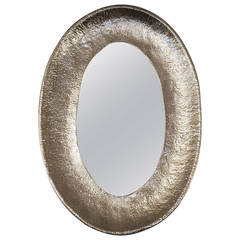 Nickel-Plated Hand-Hammered Bragalini Mirror, Italy, 1960s