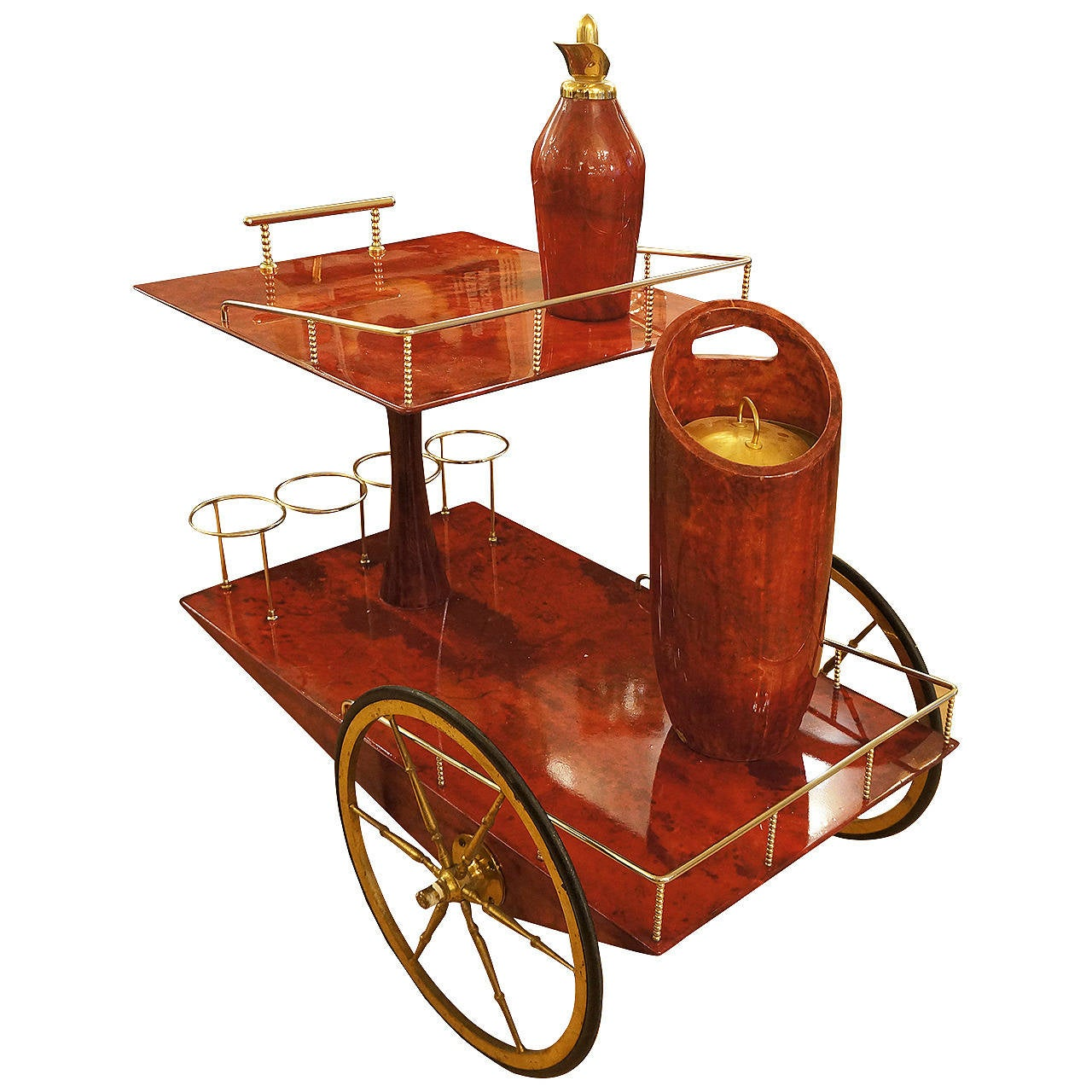 Colorful Parchment Clad Bar Cart With Accessories By Aldo Tura At . Full resolution‎  image, nominally Width 1280 Height 1280 pixels, image with #B28819.