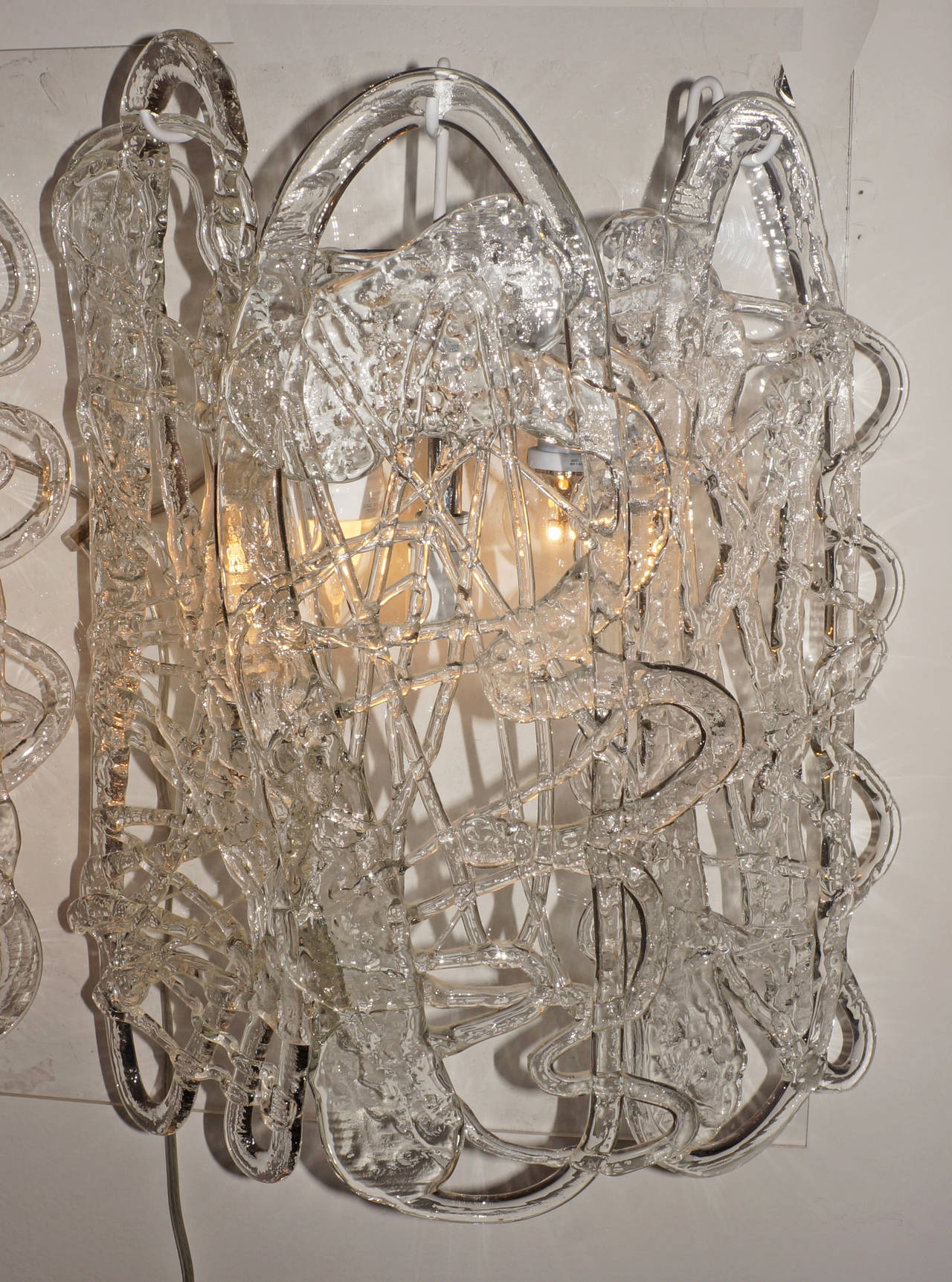 Handmade Glass Wall Sconces : Fancy Spaghetti Murano Handmade Glass Sconces at 1stdibs