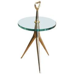 Italian Mid-Century Bronze Side Table or Gueridon