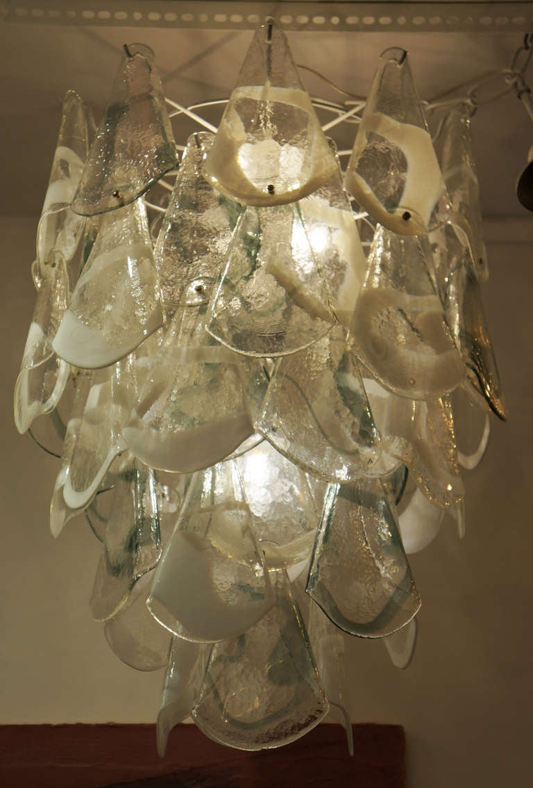 Hand blown murano glass chandelier italy 1960s at 1stdibs Blown glass chandelier