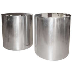 Drum Shaped 1970s Polished Aluminum Side or Sofa Tables