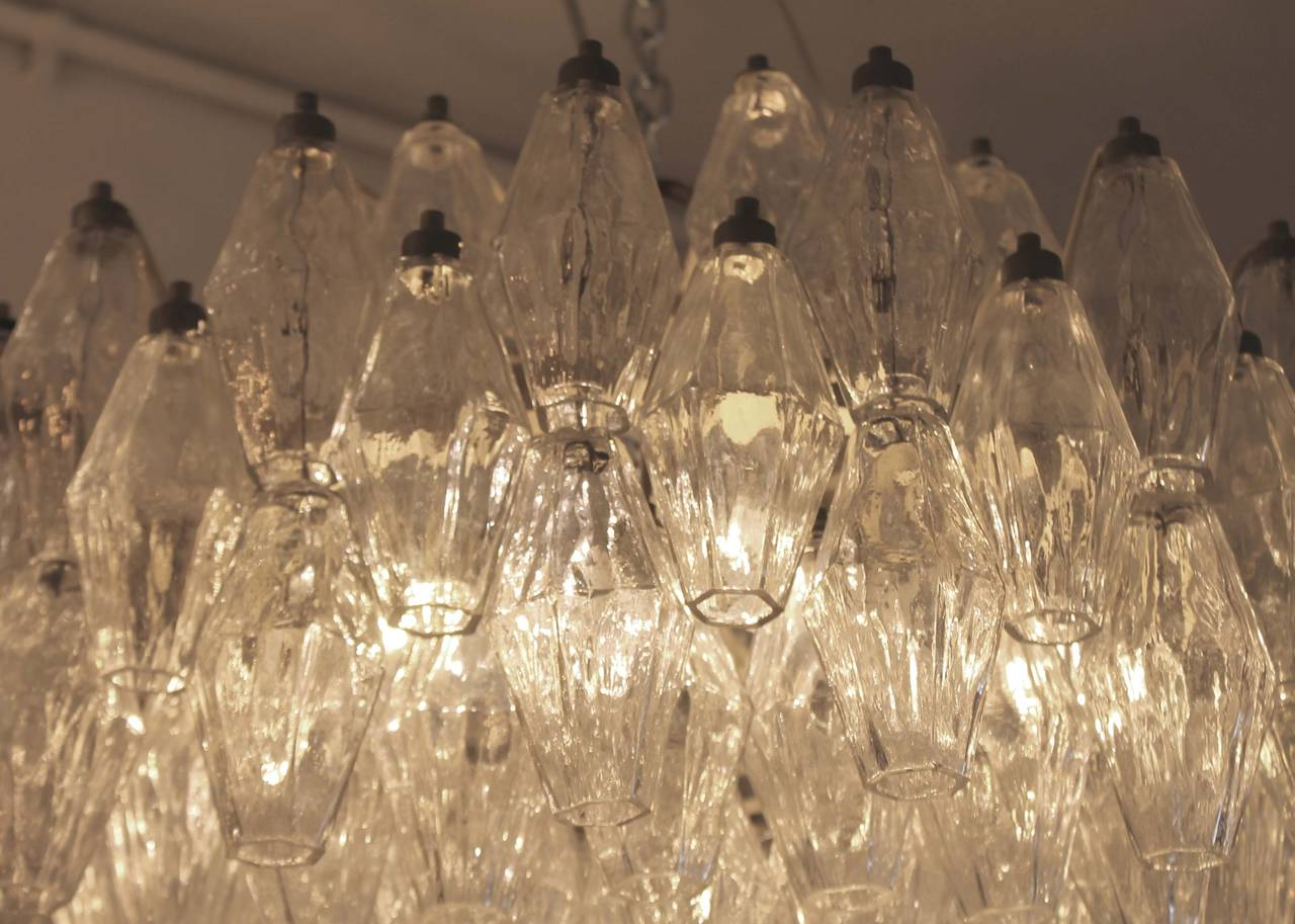 Pair Of Early Venini Polyhedral Chandeliers Italian 1960s