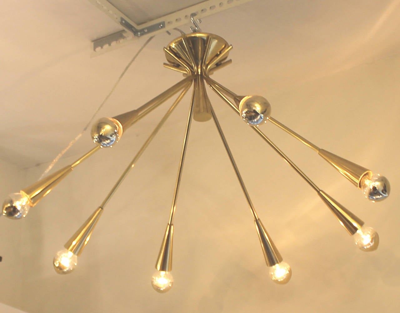 Italian Pair of Brass Semi-Sputnik Chandeliers by Lumi, Italy, 1960s For Sale