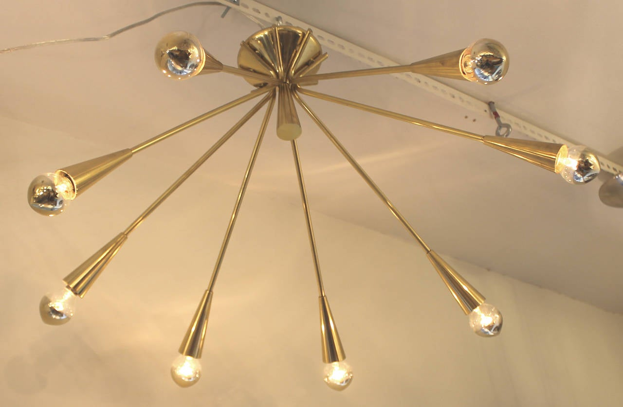 Mid-Century Modern Pair of Brass Semi-Sputnik Chandeliers by Lumi, Italy, 1960s For Sale