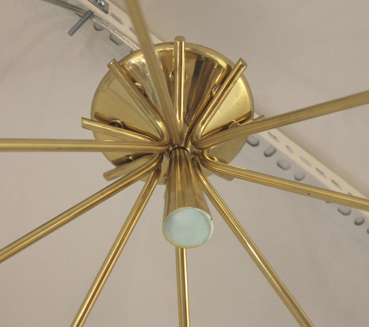 Pair of Brass Semi-Sputnik Chandeliers by Lumi, Italy, 1960s In Excellent Condition For Sale In New York, NY