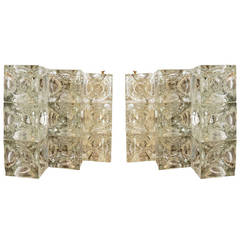 Sculptural Pair of Poliarte Sconces, Italy, 1960s