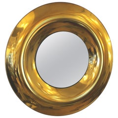 Large Round Golden Glass Mirror by Studio Ghiro, Italy, 2014