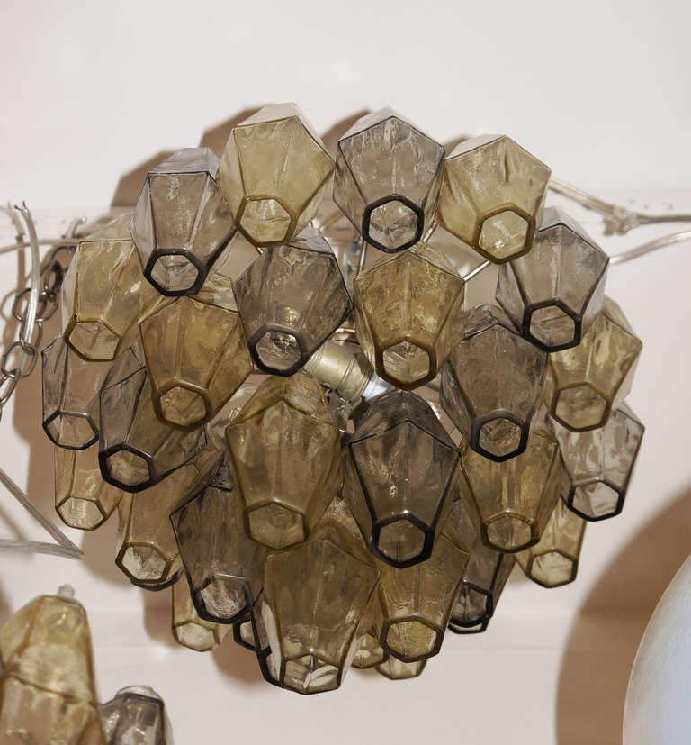 Pair Of Polyhedral Glasses Chandeliers By Carlo Scarpa For