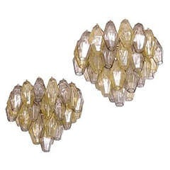 Pair  of  Polyhedral glasses chandeliers by Carlo Scarpa for Venini