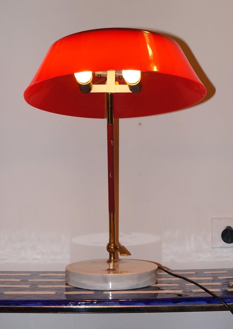 red desk lamp by stilux italy 1950s for sale at 1stdibs. Black Bedroom Furniture Sets. Home Design Ideas