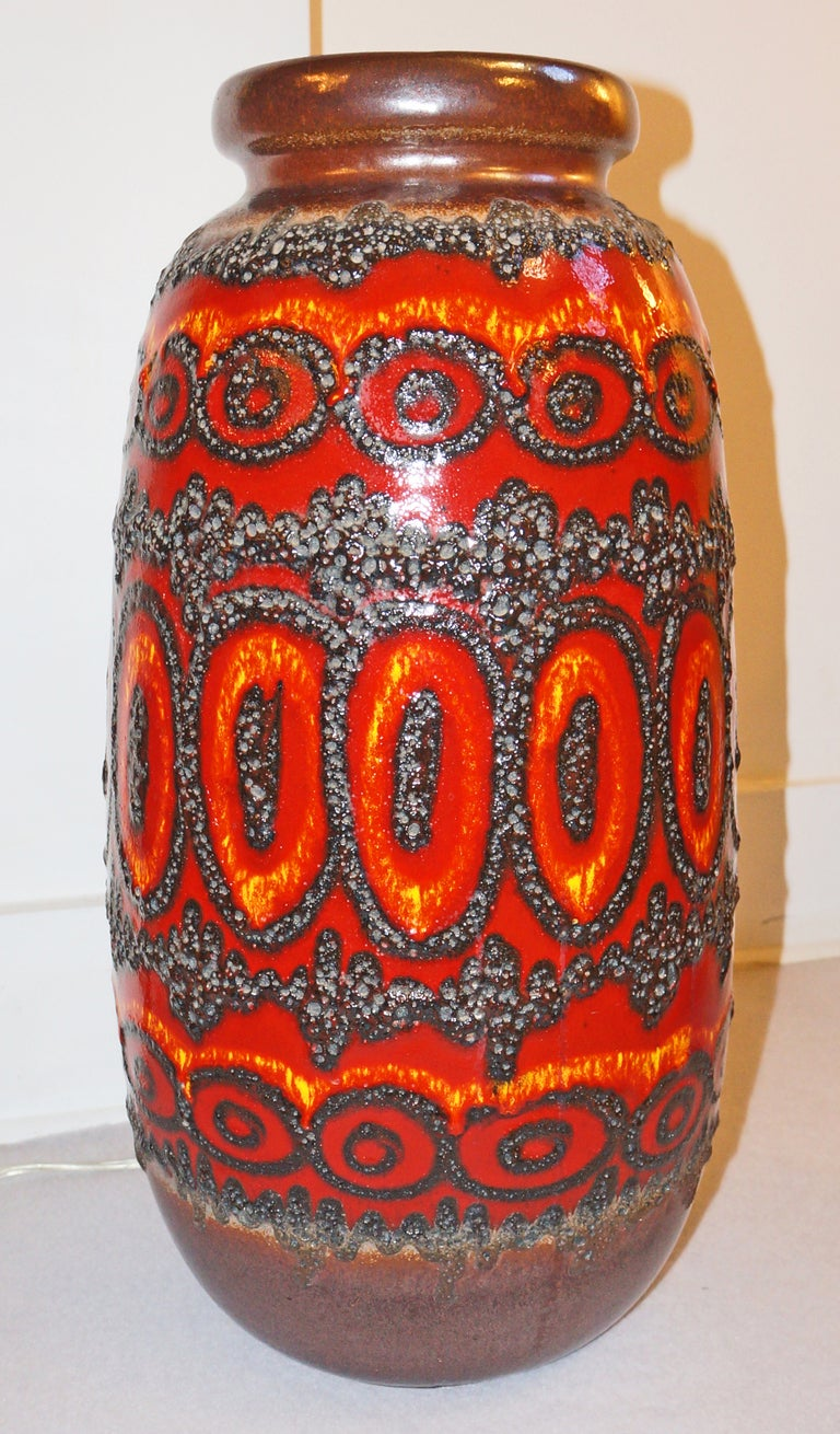 Trio Of Large 70 S German Pottery Vases Umbrella Stands