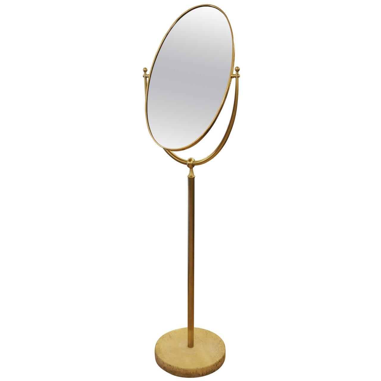 Elegant italian brass and travertine 1950s floor mirror at for Elegant mirrors