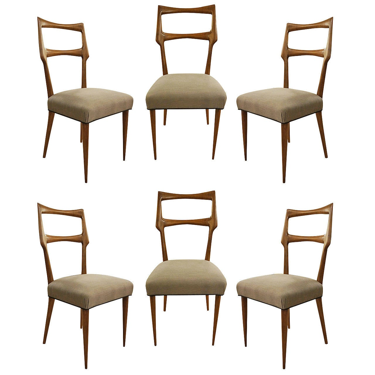 Set of six dinning room chairs italy 1950s at 1stdibs for Furniture 1950
