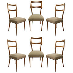 Set of Six Dinning Room Chairs, Italy 1950s
