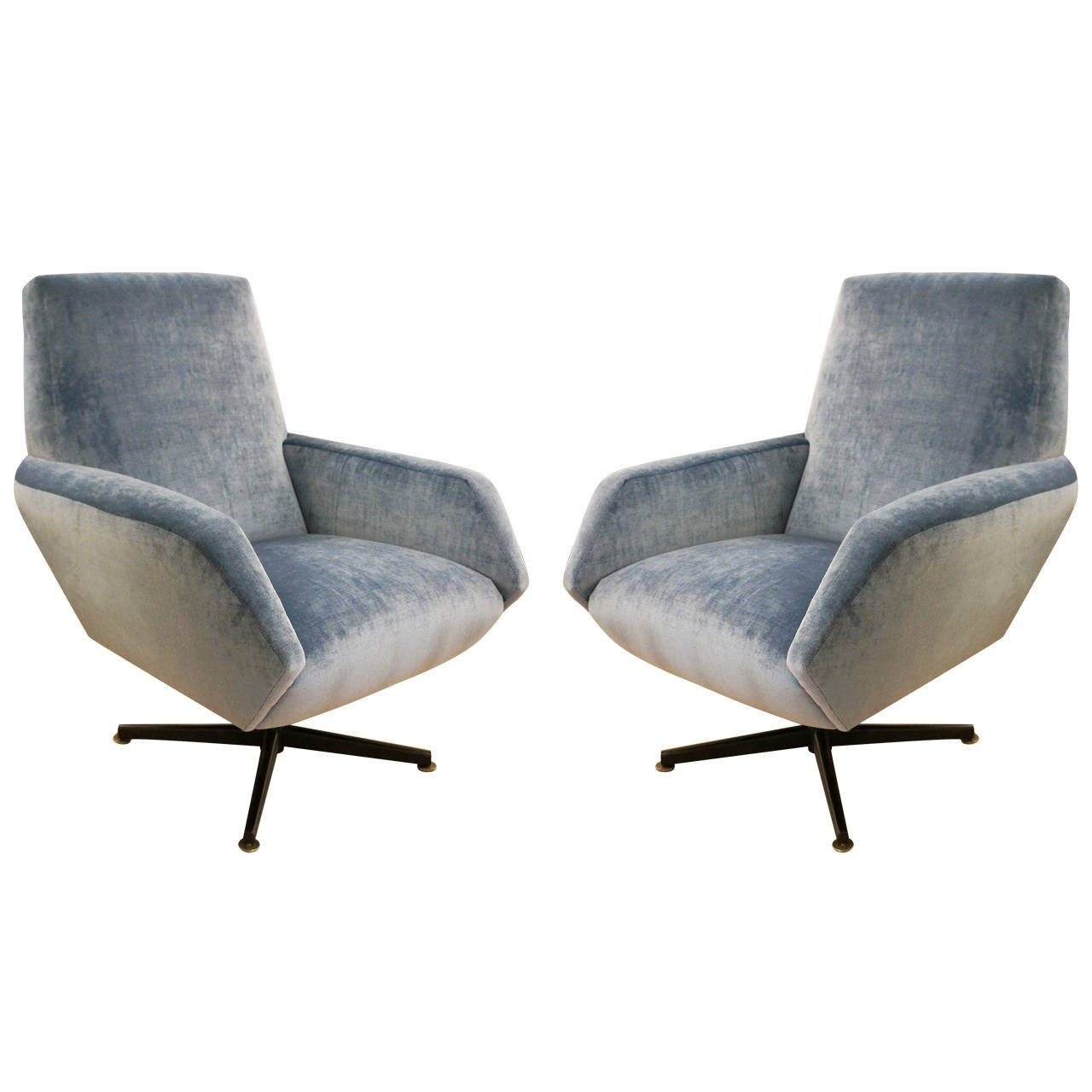 Category armchairs and lounge chairs - Italian Mid Century Swivel Lounge Chairs At 1stdibs