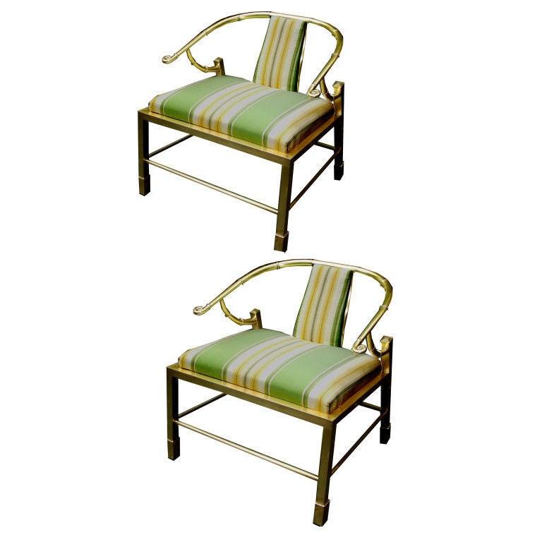 Pair of Asian Inspired Italian Brass Armchairs