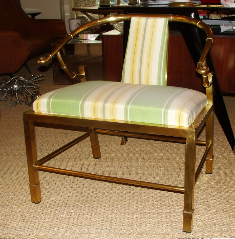 Pair of Asian Inspired Italian Brass Armchairs In Excellent Condition In New York, NY